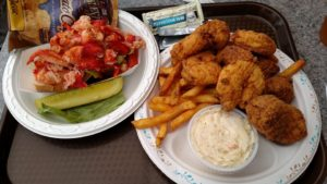 Lobster Roll Fried Shrimp plate  at Tony's Clam shop Wollaston Beach Quincy